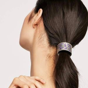 Free People Engraved Bun Cuff Purple Silver